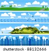 Landscape vector banners. - stock vector