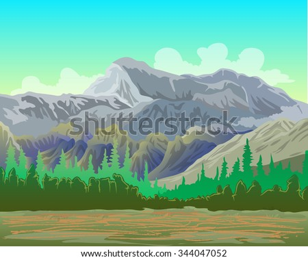 landscape vector illustration with mountain and forest  - stock vector