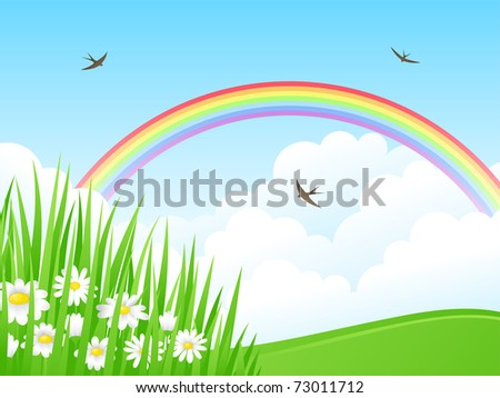 Landscape with a Rainbow. Vector illustration. - stock vector