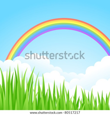 Landscape with a Rainbow. Vector illustration.