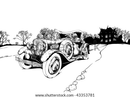 landscape with an old car