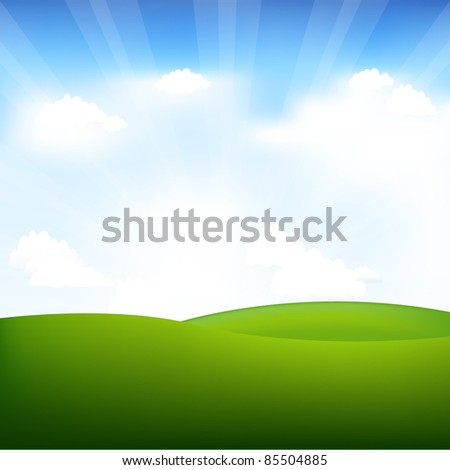 Landscape With Beams, Vector Illustration - stock vector