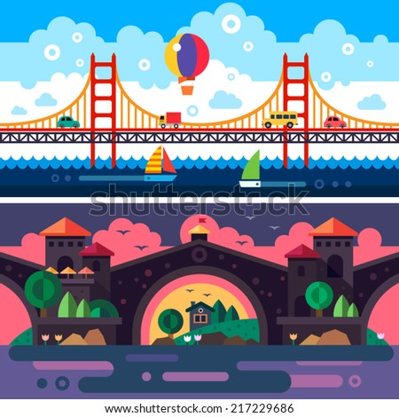 Landscape with bridge. Day and night. Clouds. Vector flat illustrations - stock vector