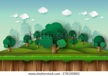 landscape with building trees and clouds.paper art style.