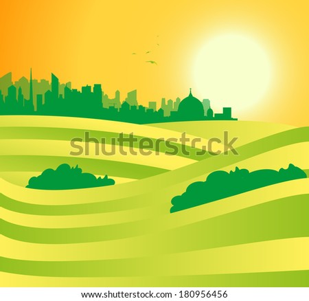 landscape with city in the background - stock vector