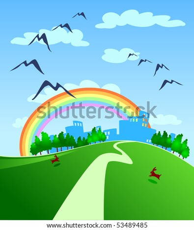 Landscape with countryside and town in the distance, vector - stock vector