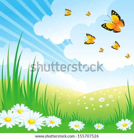 Landscape with Daisies - stock vector
