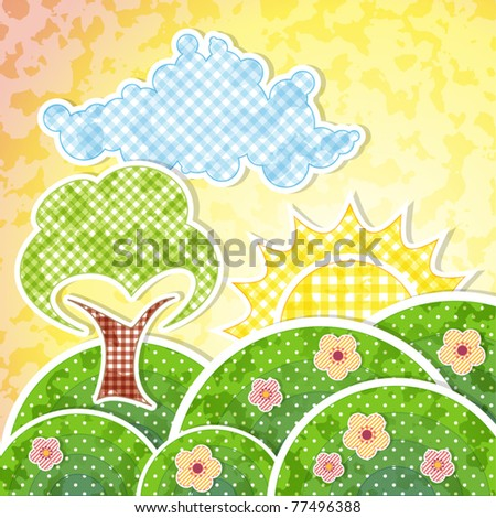 Landscape with dawn hills, flowers and tree - stock vector
