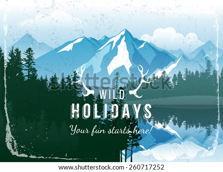 landscape with forest and mountains - stock vector