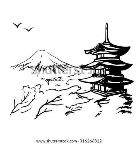 landscape with Fuji mount, sakura tree and Japan  pagoda illustration in original style.  - stock vector