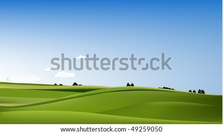 Landscape with green field - stock vector