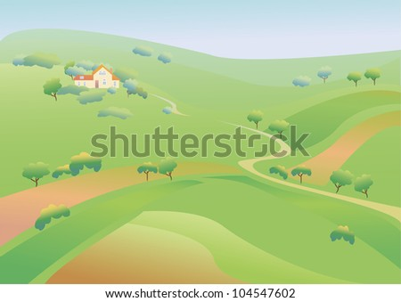Landscape with green fields and  meadows.Change of seasons.Concept showing a peaceful and idyllic lifestyle.The road in the countryside and away ranch