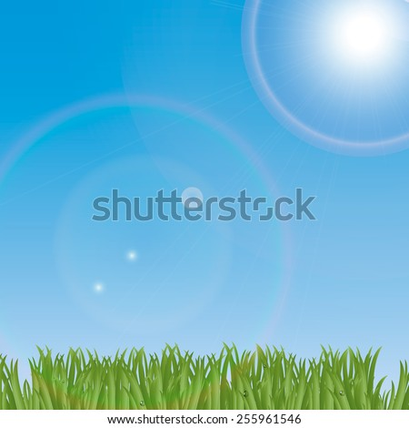 Landscape with green grass, blue sky and bright sun, vector illustration - stock vector