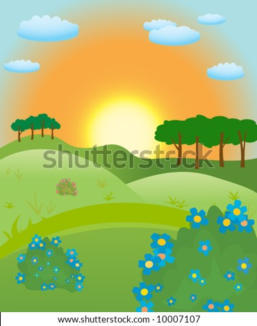 landscape with green grass, flower and sun