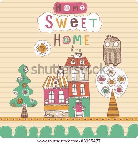 Landscape with house and owl - stock vector