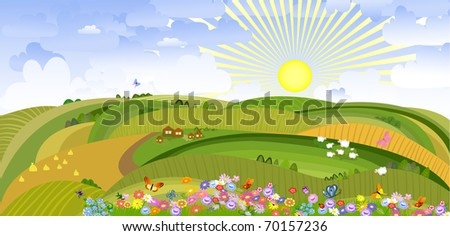 landscape with houses and sheep - stock vector
