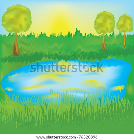 Landscape with lake, sunrise, meadow,trees - stock vector