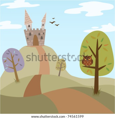 Landscape with medieval cartoon castle, trees, road and owl. Summer/spring version - stock vector
