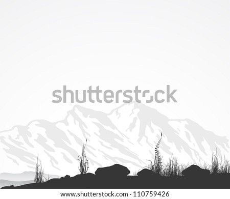 Landscape with mountain range, grass and stones. Vector illustration eps8. - stock vector