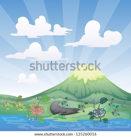 landscape with mountain, river,road, on cloudy day - stock vector