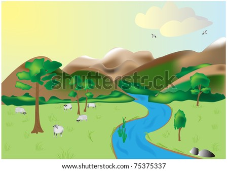 Landscape with mountains and the river