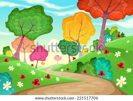 Landscape with multi-colored trees. Cartoon and vector illustration - stock vector