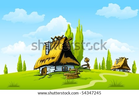 landscape with old house in the village - stock vector