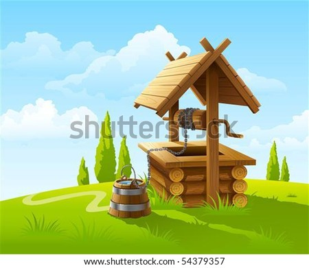 landscape with old wooden well and bucket of water vector illustration - stock vector