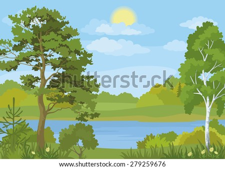 Landscape with Pine, Fir and Birch Trees, Grass and Flowers on the Shore of a Lake under a Blue Cloudy Sky with Sun. Vector - stock vector