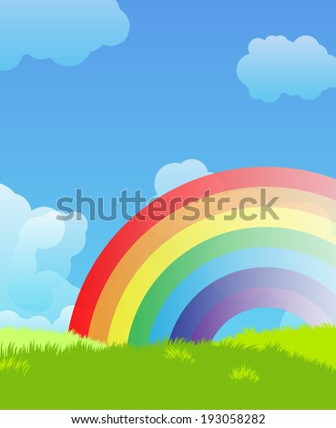 Landscape with rainbow - stock vector
