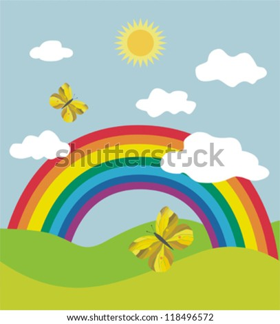 Landscape with rainbow and butterflies