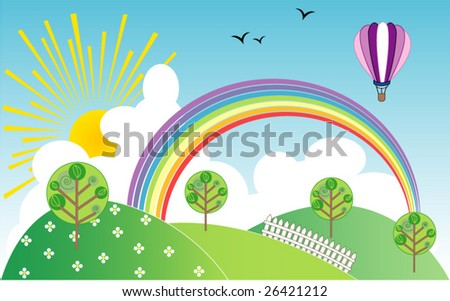 Landscape with rainbow and hot-air balloon