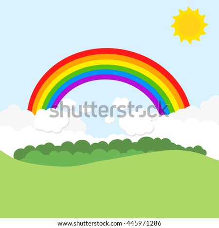 Landscape with rainbow and sun. Vector illustration