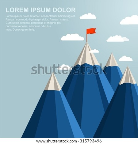 Landscape with red flag on top of Mountain. Leadership concept - stock vector