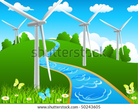 landscape with river and windmills - vector illustration - stock vector