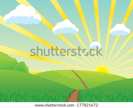 Landscape with road and clouds - stock vector