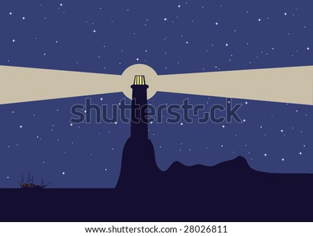 Landscape with sailing ship and the lighthouse. Vector illustration. - stock vector