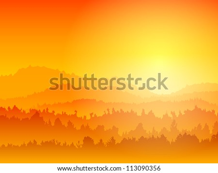 Landscape with silhouettes of mountains against the sunset - stock vector