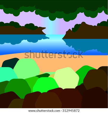 Landscape with simplified details with green bushes, mountainous islands, water and otrozhenie.
