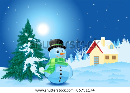 Landscape with snowman and little house - stock vector