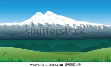 Landscape with snowy Mount Elbrus. - stock vector