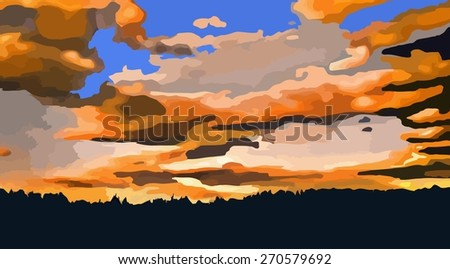 Landscape with sunset at the seashore. Grass silhouette over bright water and mountain range. Vector illustration. - stock vector