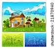 Landscape with the house children's drawing animated, vector illustration - stock vector
