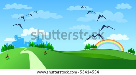 Landscape with town in the distance and rainbow, vector - stock vector