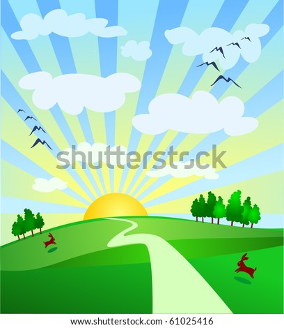 Landscape with trail and sun, vector illustration