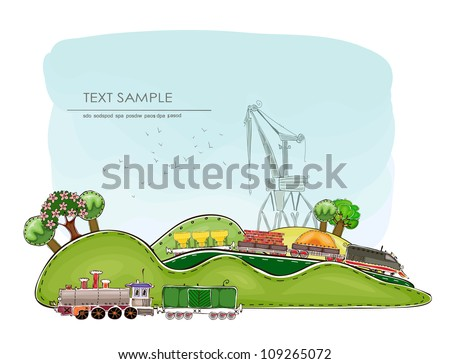 landscape with trains - stock vector