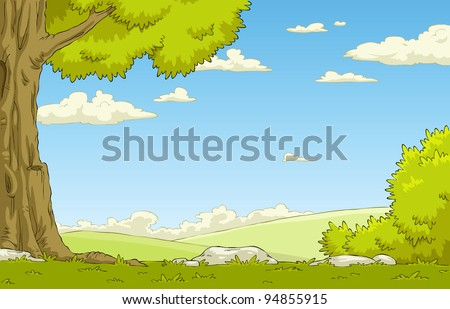 Landscape with tree and shrub, vector illustration - stock vector