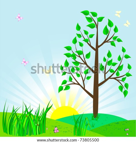 Landscape with tree and sun. Vector illustration.