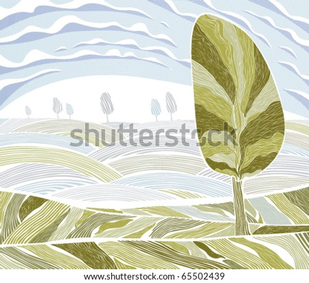 Landscape with tree, field and clouds - stock vector