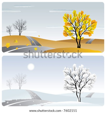landscape with tree & road in winter & autumn season - stock vector